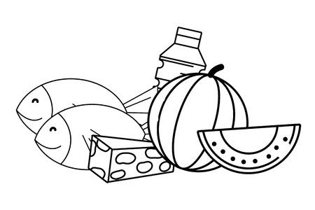 Abarrotes comprar alimentos productos cárnicos ilustración vectorial diseño gráfico