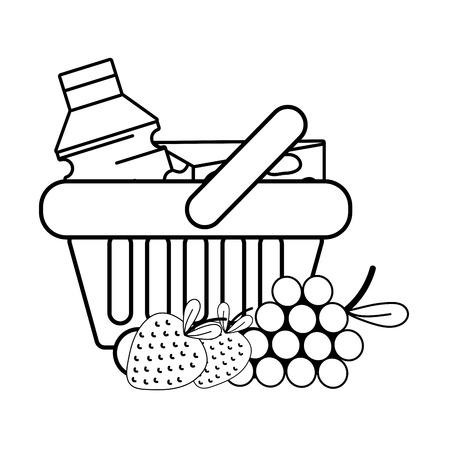cesta de compra de comestibles en blanco y negro