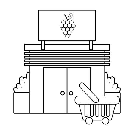 Supermercado frutas comestibles negocio compra ilustración vectorial diseño gráfico Ilustración de vector
