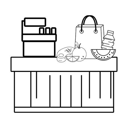 supermarket cashier purchase groceries food vector illustration graphic design