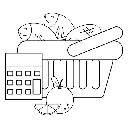groceries purchase basket food bag vector illustration graphic design