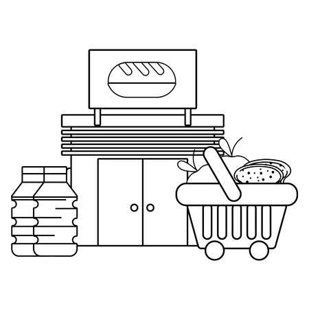 bakery store groceries business purchase vector illustration graphic design Vectores