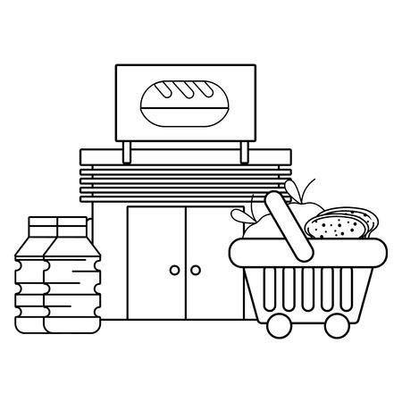 Panadería tienda de comestibles negocio compra ilustración vectorial diseño gráfico Ilustración de vector