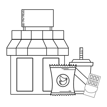 supermarket store groceries business purchase vector illustration graphic design Vectores