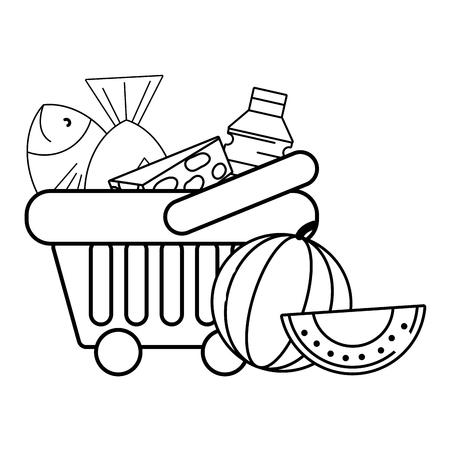 cesta de compra de comestibles en blanco y negro Ilustración de vector
