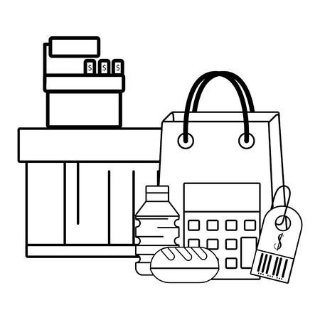 supermarket cashier purchase black and white