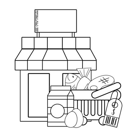 supermercado tienda negocio blanco y negro Ilustración de vector