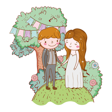 couple wedding cute cartoon vector ilustration