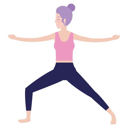 Donna sul disegno grafico dell'illustrazione di vettore del fumetto dell'avatar di posizione di yoga