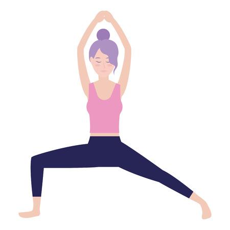 Donna sul disegno grafico dell'illustrazione di vettore del fumetto dell'avatar di posizione di yoga Vettoriali