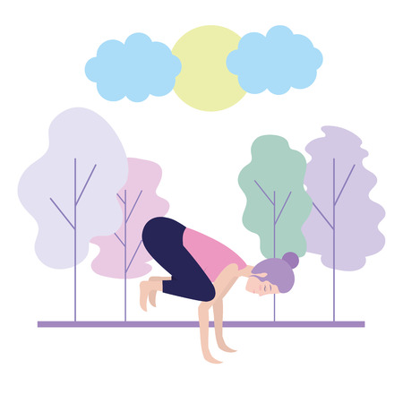 Donna sulla posizione di yoga alla progettazione grafica dell'illustrazione di vettore della natura