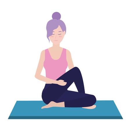 Posizione di yoga della donna sul disegno grafico dell'illustrazione di vettore del fumetto dell'avatar del rilievo