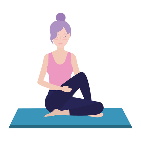 Woman yoga position on pad avatar cartoon vector illustration graphic design Vettoriali