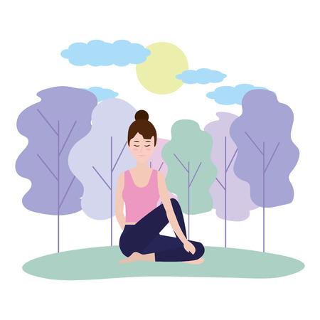 Donna sulla posizione di yoga alla progettazione grafica dell'illustrazione di vettore della natura Vettoriali