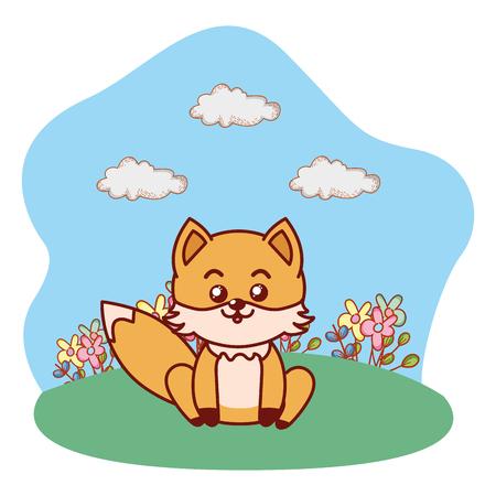 fox sitting in grassy lanscape cartoon