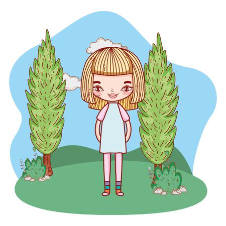 girl outdoors cartoon Illustration