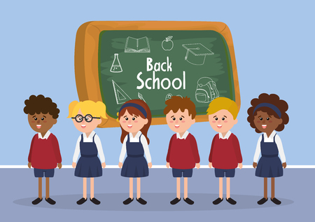 students boys and girls with uniform and blackboard vector illustration