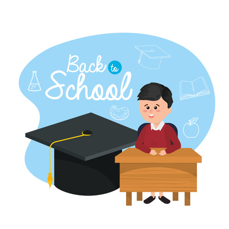 boy student in the desk with graduate cap vector illustration