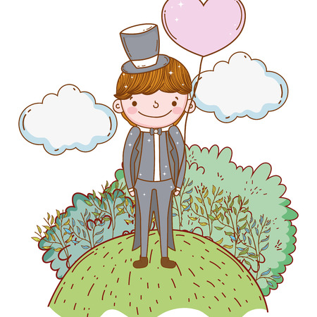 groom wedding cute cartoon forest with trees vector illustration graphic design