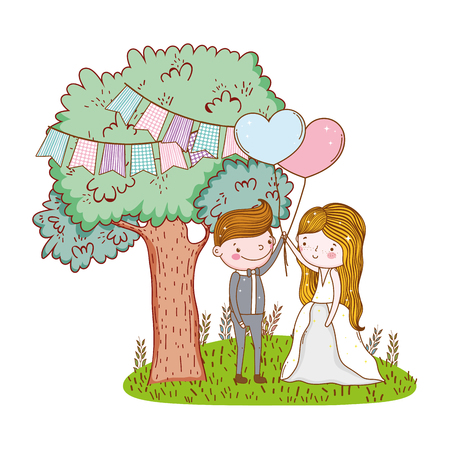 couple wedding cute cartoon forest with trees and balloons vector illustration graphic design