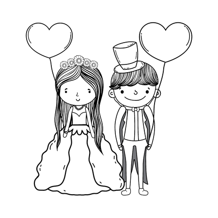 couple wedding with balloons cute cartoon vector illustration graphic design
