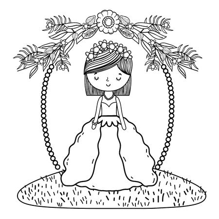 bride wedding cute with dress cartoon on wreath vector illustration graphic design