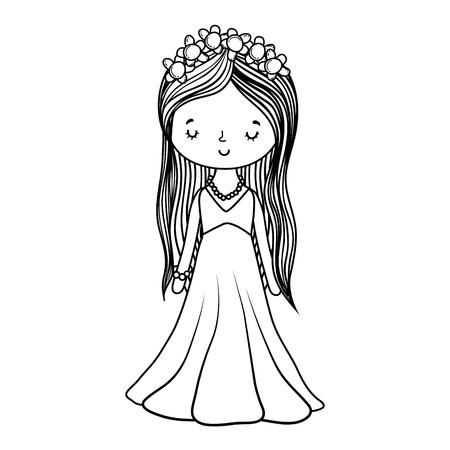 bride wedding cute with dress cartoon vector illustration graphic design