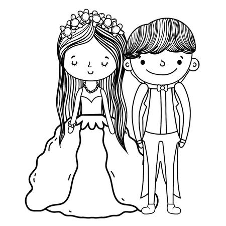 Couple mariage dessin animé mignon vector illustration graphisme