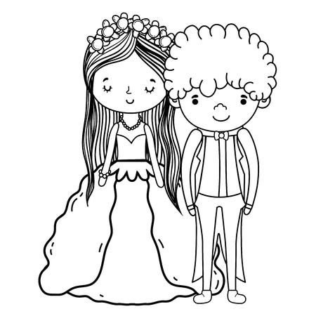 couple wedding cute cartoon vector illustration graphic design