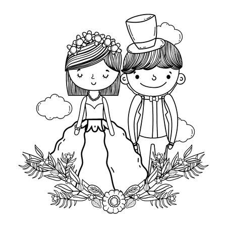 couple wedding on decorative wreath nature cute cartoon vector illustration graphic design