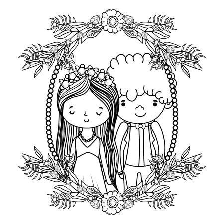 couple wedding on decorative wreath nature cute cartoon vector illustration graphic design