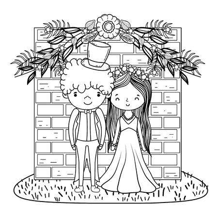 couple wedding over bricks wall cute cartoon vector illustration graphic design