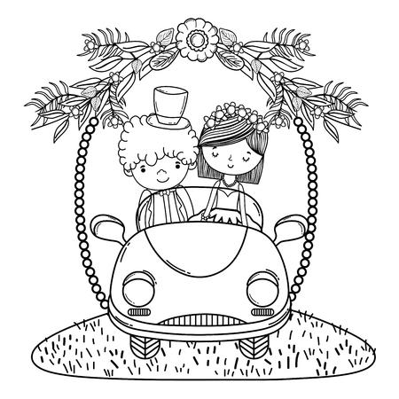 wedding couple marriage on vintage car cute cartoon vector illustration graphic design