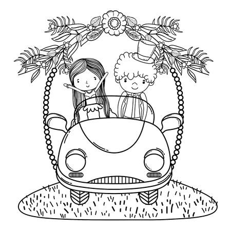 wedding couple marriage on vintage car cute cartoon vector illustration graphic design