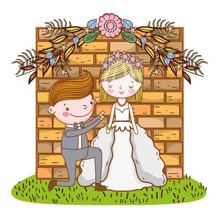 couple wedding proposal over bricks wall cute cartoon vector illustration graphic design