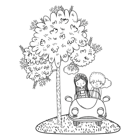 wedding couple marriage on vintage car at forest cute cartoon vector illustration graphic design