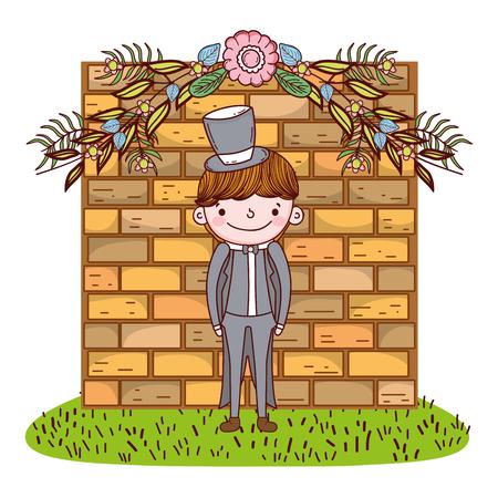 groom wedding male cute cartoon vector illustration graphic design Vettoriali