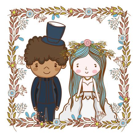 couple wedding leaves snd flowers wreath cute cartoon vector illustration graphic design