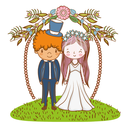 couple wedding on entrance at nature cute cartoon vector illustration graphic design