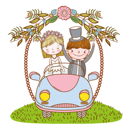 wedding couple on vintage car cute wreath cartoons vector illustration graphic design