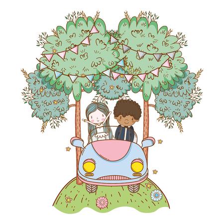 wedding couple on vintage car at nature cartoons vector illustration graphic design Illusztráció