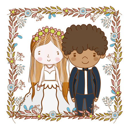 couple wedding leaves snd flowers wreath cute cartoon vector illustration graphic design