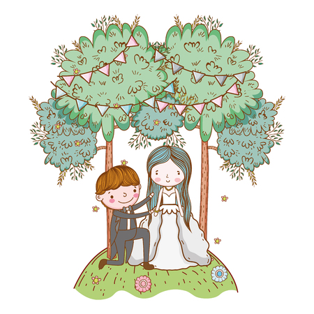 couple wedding proposal on nature landscape cute cartoon vector illustration graphic design Stockfoto - 127714597