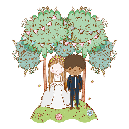 couple wedding on nature landscape cute cartoon vector illustration graphic design Stockfoto - 127714599