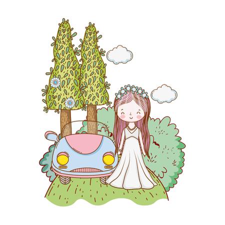 Wedding bride and vintage car at nature cartoon