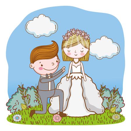 couple wedding proposal on nature landscape cute cartoon vector illustration graphic design Stockfoto - 127714606