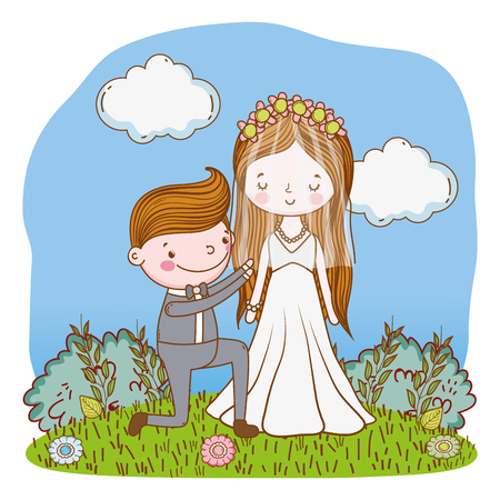 couple wedding proposal on nature landscape cute cartoon vector illustration graphic design Stockfoto - 127714608