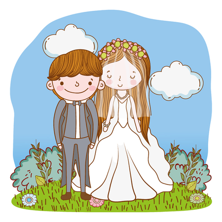 couple wedding on nature landscape cute cartoon vector illustration graphic design Stockfoto - 127714610