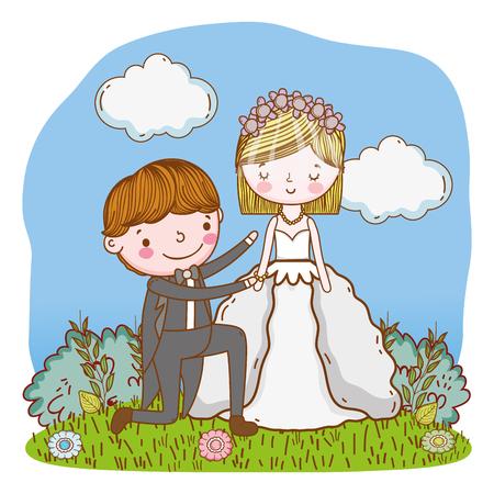 couple wedding on nature landscape cute cartoon vector illustration graphic design Stockfoto - 127714611