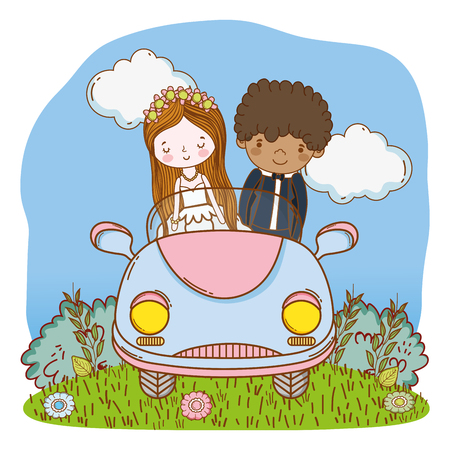 wedding couple on vintage car at nature cartoons vector illustration graphic design 矢量图像